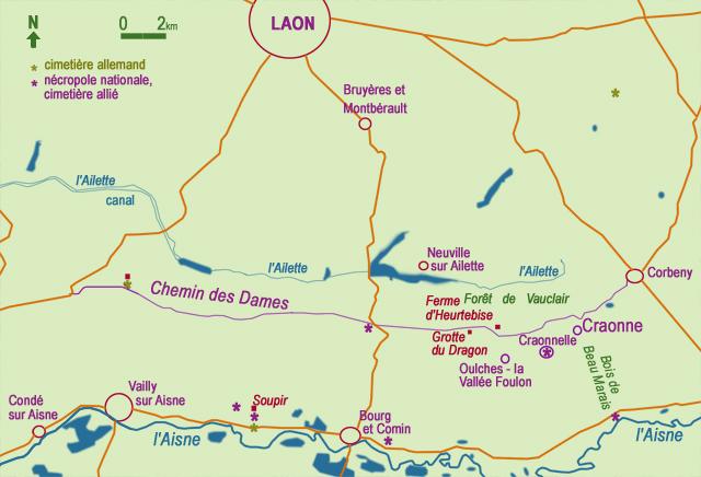 Chemin des Dames, Craonne - carte Annie Dhénin