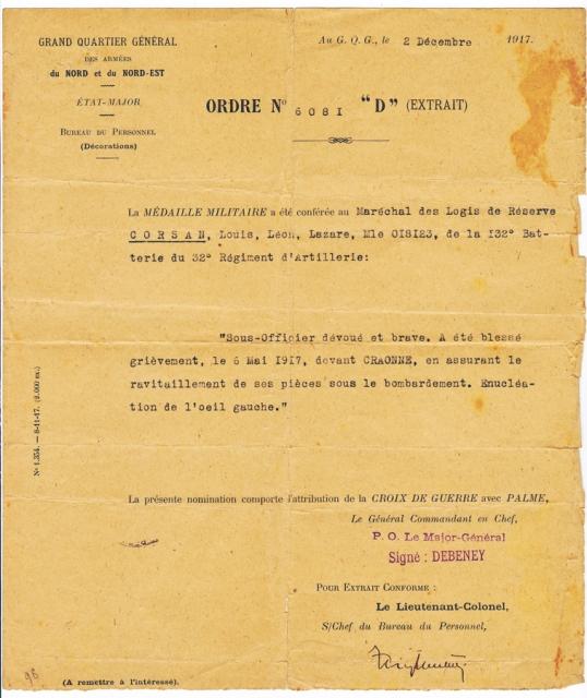 14-18 médaille - Archives Corsan-Dhénin