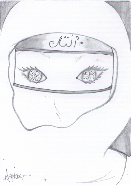 visage voilé, dessin
